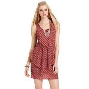 LIKE NEW Bar III Geometric Peplum Sleeveless Dress